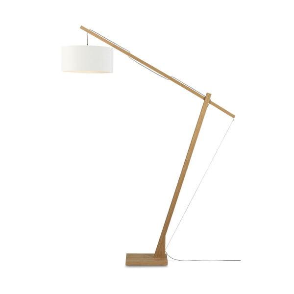 Stojací lampa s bílým stínidlem a konstrukcí z bambusu Good&Mojo Montblanc