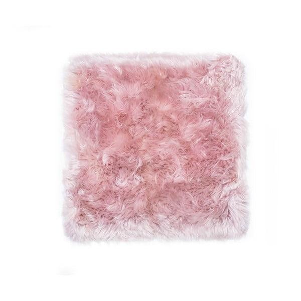 Růžový koberec z ovčí kožešiny Royal Dream Zealand Square, 70x70cm
