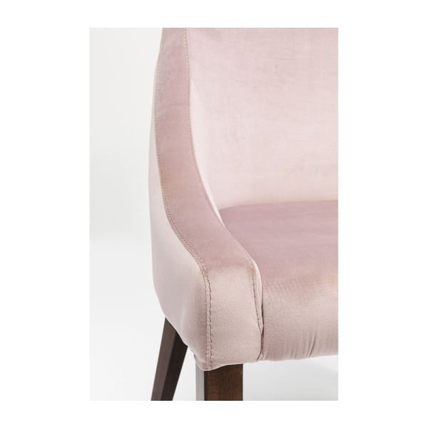 Pudrově růžové křeslo s nožičkami z bukového dřeva Kare Design Mode