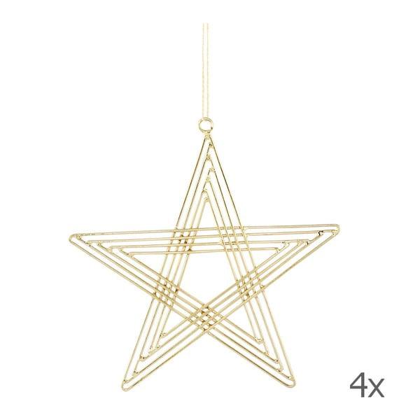 Sada 4 závěsných hvězd Path Brass