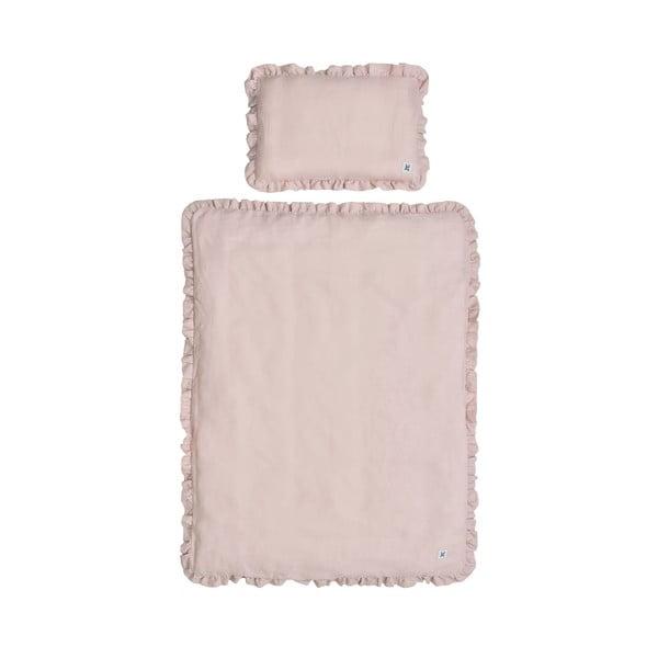 Růžové dětské lněné povlečení BELLAMY Dusty Pink, 100x135cm
