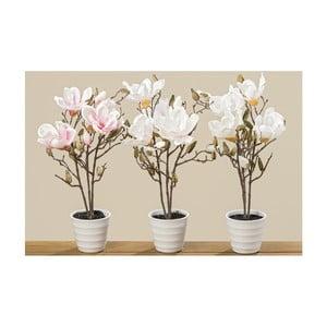 Sada 3 květináčů s umělými magnoliemi Boltze, výška 50 cm