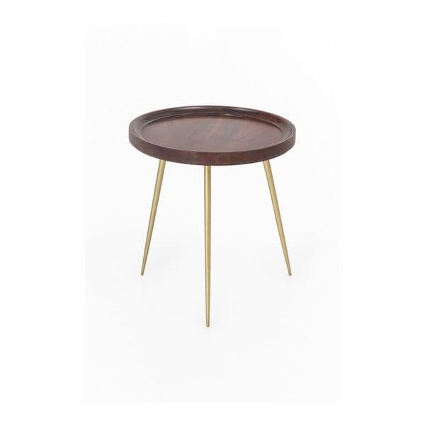 Odkládací stolek z akáciového dřeva WOOX LIVING Nora, ⌀46cm