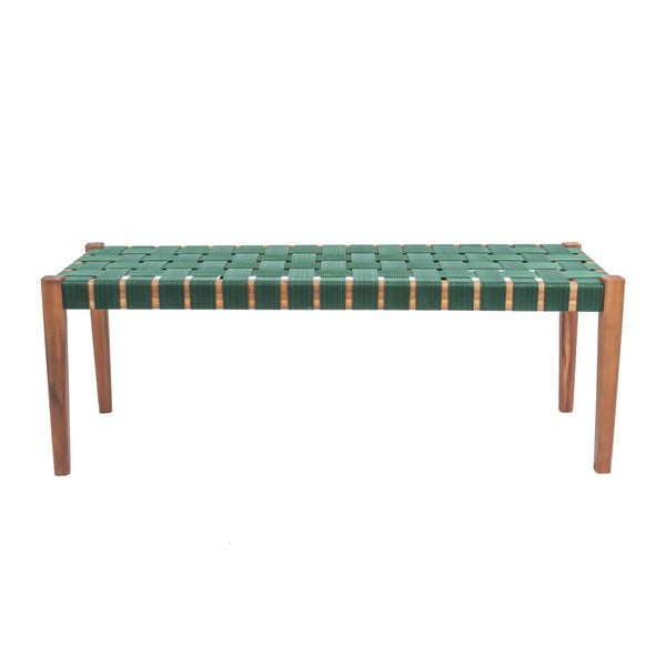 Zelená lavice z akáciového dřeva s nylonovým potahem Leitmotiv Weave