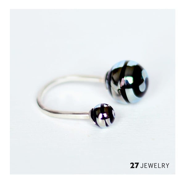 Silver Swirl dvojitý prsten ze skla