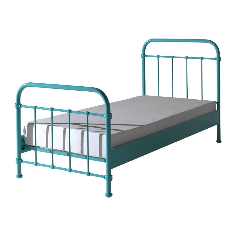 Mátově zelená kovová dětská postel Vipack New York, 90x200cm Vipack