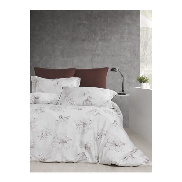 Lenjerie și cearșaf din bumbac satinat pentru pat dublu Fiori, 200 x 220 cm