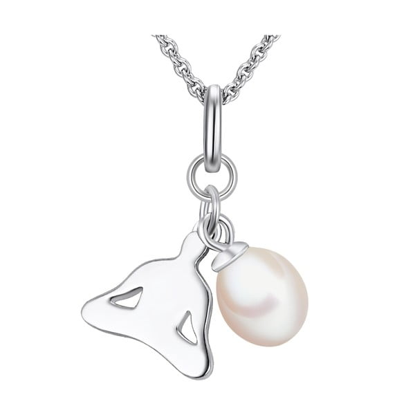 Stříbrný náhrdelník s přívěskem a perlou Chakra Pearls Lotus,  70 cm
