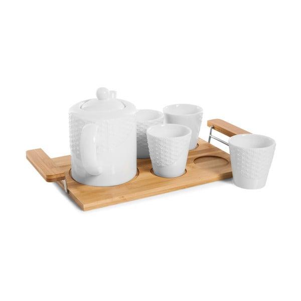 Set 4 căni, ceainic și tavă din bambus Bambum Siam