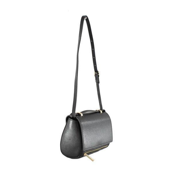 Černá kožená kabelka Chicca Borse Polly