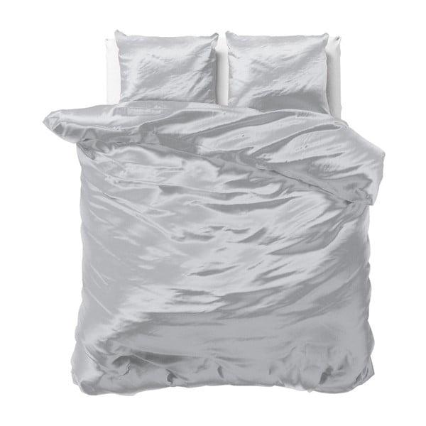 Sivé obliečky zo saténového mikroperkálu na dvojlôžko Sleeptime, 200 x 220 cm