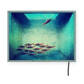 Decorațiune pentru perete cu lumini LED Surdic Free Fish, 40 x 30 cm poza