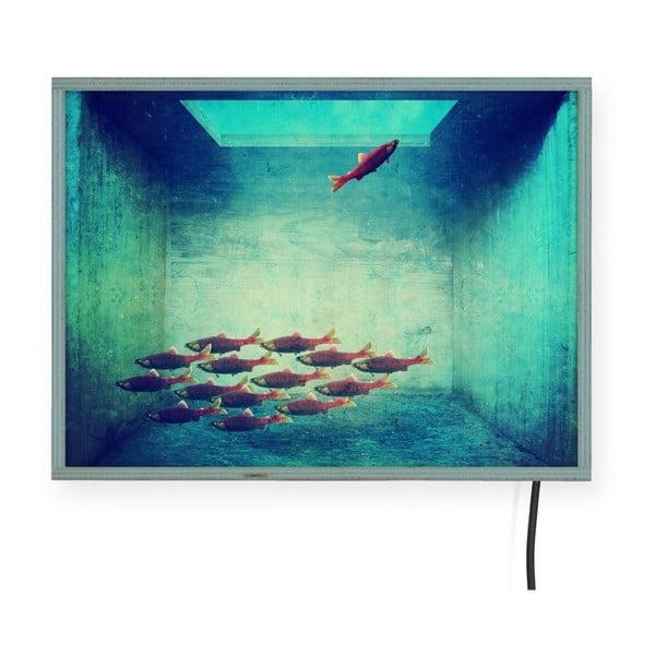 Decorațiune pentru perete cu lumini LED Surdic Free Fish, 40 x 30 cm