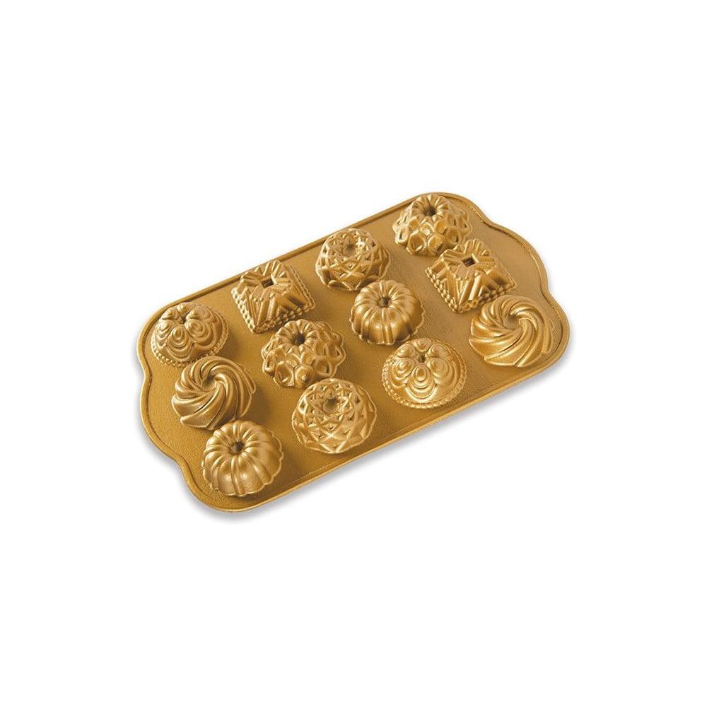 Forma na 12 mini bábovek ve zlaté barvě Nordic Ware Minimix, 280 ml