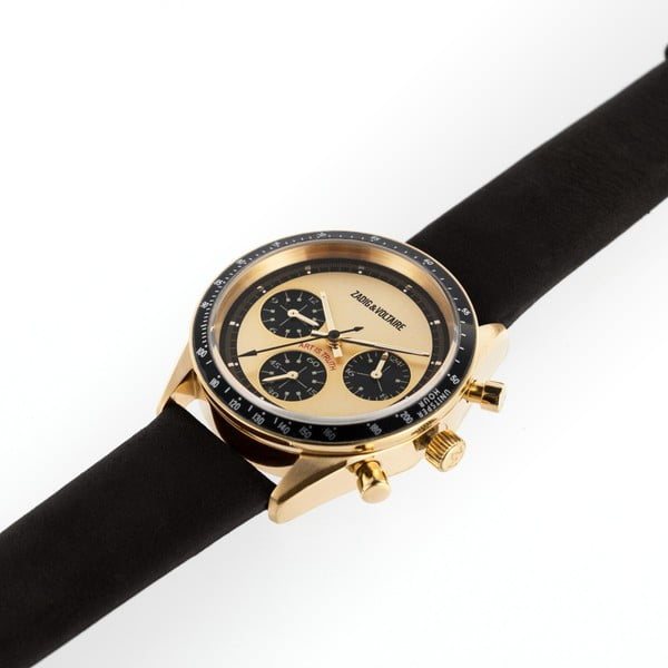 Dámské hodinky s černým koženým páskem Zadig & Voltaire