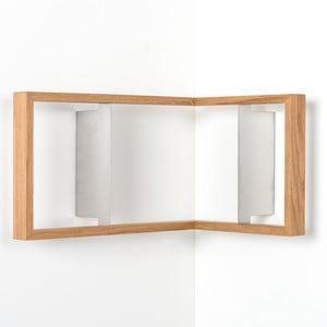 Rohová knižní police z dubového dřeva das kleine b b2, výška25cm