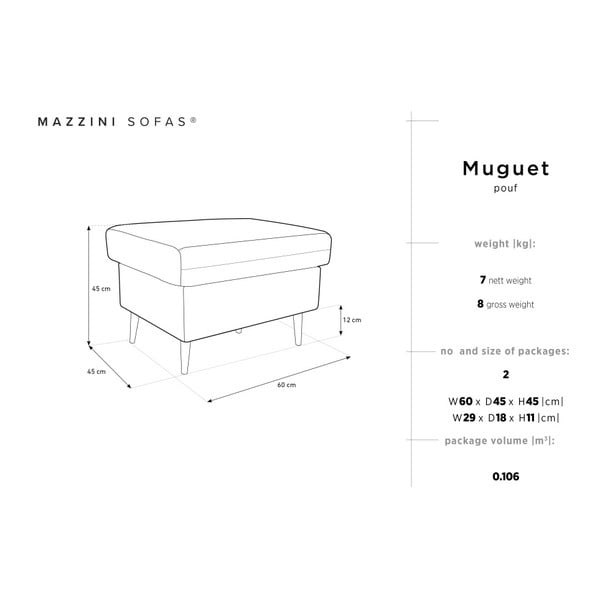 Černý puf Mazzini Sofas Muguet, 60 x 45 cm