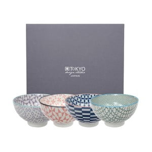 Sada 4 porcelánových misek na rýži Tokyo Design Studio Geo Eclectic