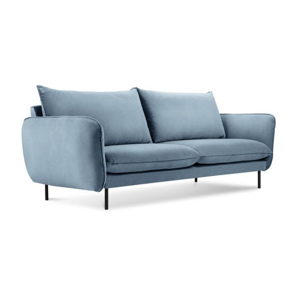 Canapea țesătură catifea Cosmopolitan Design Vienna, 160 cm, albastru deschis