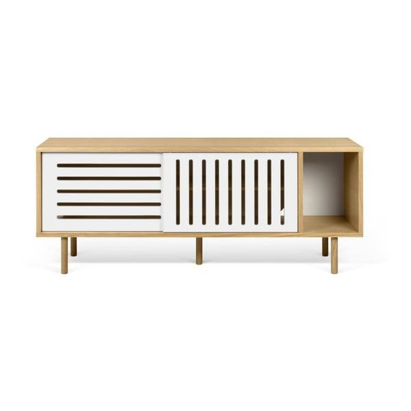 Dann Stripes tölgyfamintás TV-állvány fehér részletekkel, hosszúság 165 cm - TemaHome