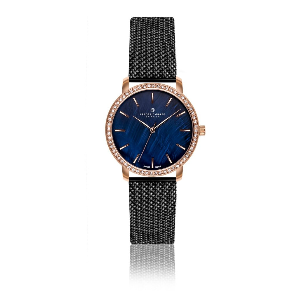 Dámské hodinky s páskem v černé barvě z nerezové oceli Frederic Graff Harto