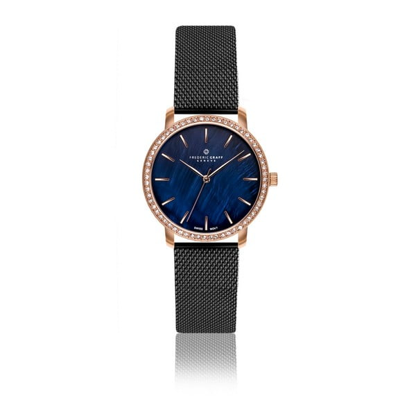 Zegarek damski z paskiem w czarnym kolorze ze stali nierdzewnej Frederic Graff Harto