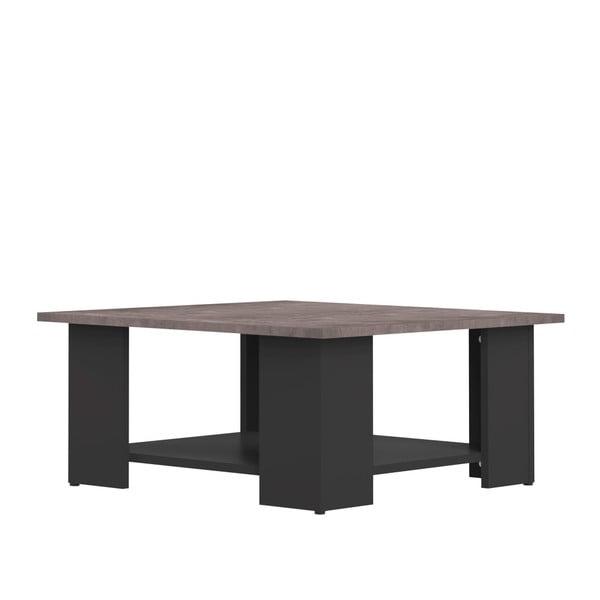 Černý konferenční stolek s deskou v dekoru betonu Symbiosis Square, 67x67cm