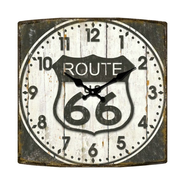 Skleněné hodiny Route 66, 34x34 cm