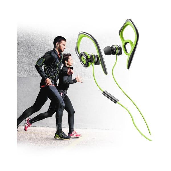 Sportovní sluchátka CellularLine GRASSHOPPER s mikrofonem, limetková