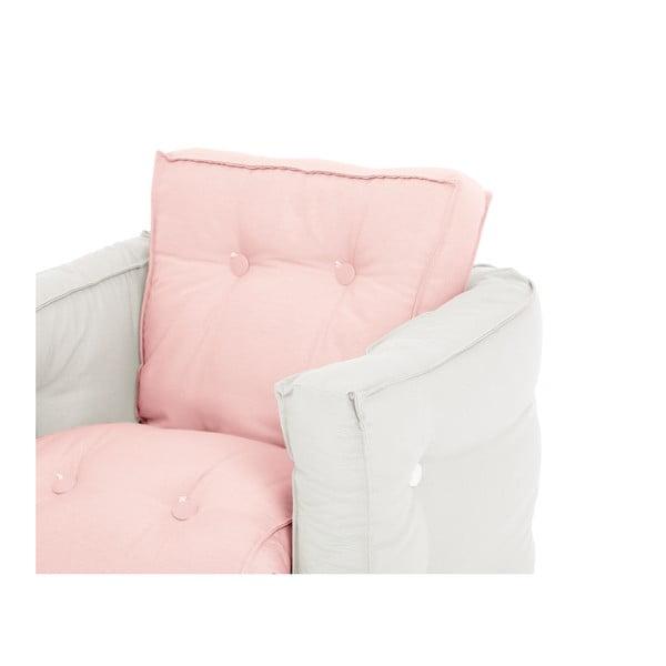 Světle růžové dětské rozkládací křesílko s přírodní konstrukcí Karup Mini Dice