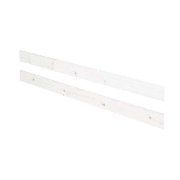Biała barierka z drewna sosnowego do łóżka Flexa Classic, dł. 197 cm