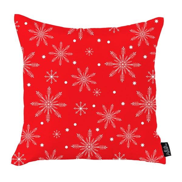 Červený vánoční povlak na polštář Apolena Honey Christmas Snowflakes, 45x45cm