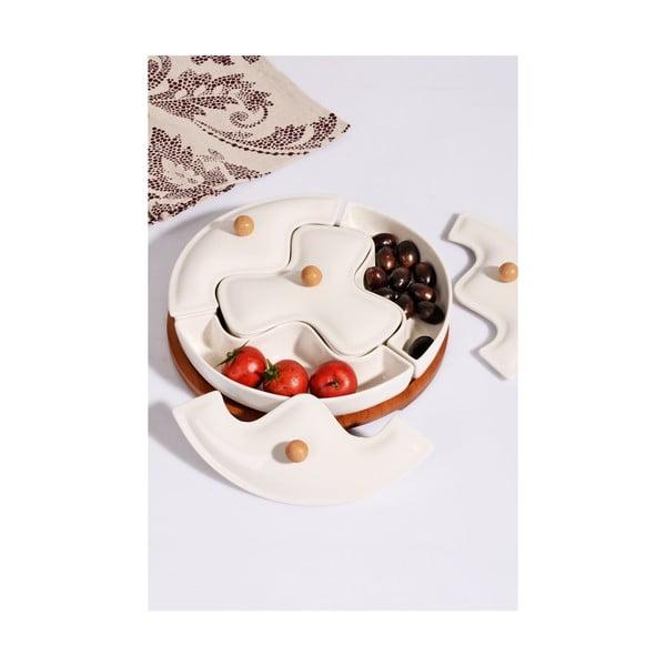 Zestaw 4 porcelanowych miseczek z wieczkiem i bambusowym stojakiem Kosova Ina