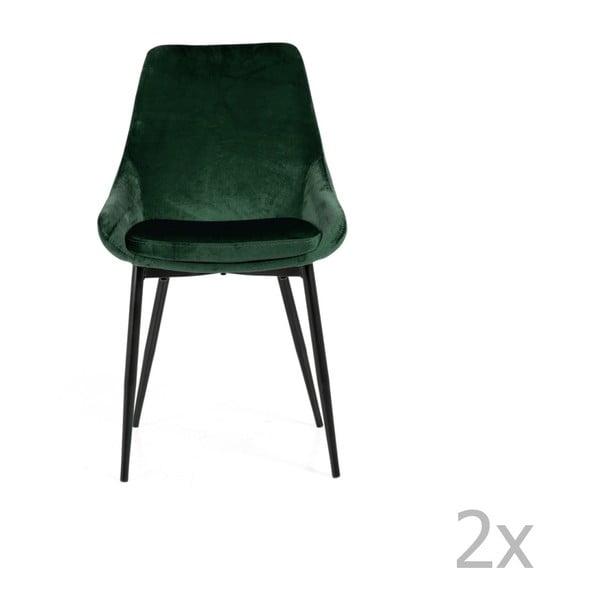 Set 2 scaune cu tapițerie din catifea Tenzo Lex, verde