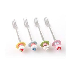 Sada 4 dezertních vidliček Sladké košíčky
