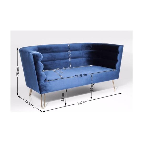 Canapea cu 2 locuri Kare Design Monaco, albastru