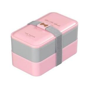 Růžovo-šedý obědový box Ted Baker