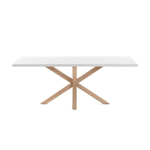 Arya fehér étkezőasztal természetes lábakkal, hosszúság 160 cm - La Forma