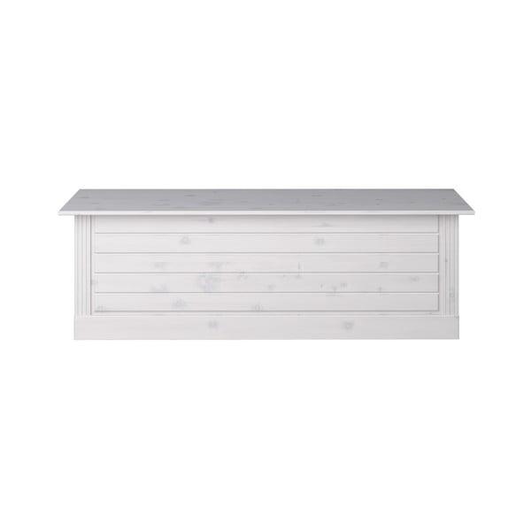Biała skrzynia z drewna sosnowego Steens Monaco, 42x136 cm