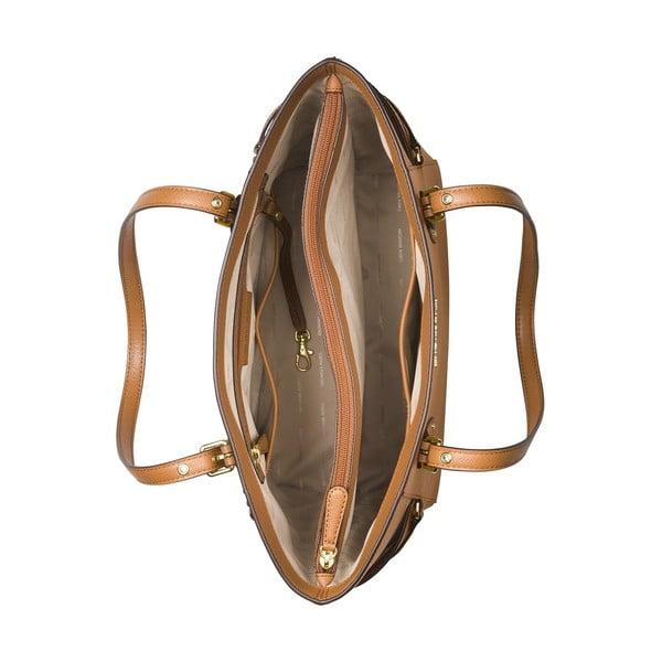 Koňakově hnědá kožená kabelka Michael Kors Jet Set
