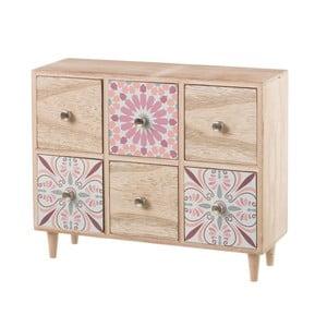 Růžová skříňka s 6 šuplíky dekorativními motivy Unimasa, výška 26 cm