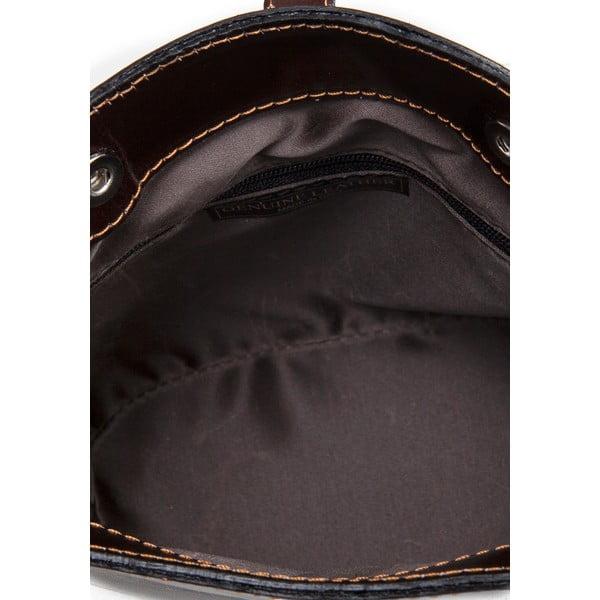 Tmavě hnědá kožená kabelka Massimo Castelli Silverio