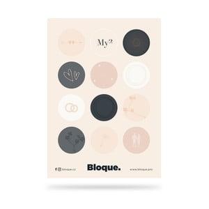12 samolepek v designu Bloque.My2