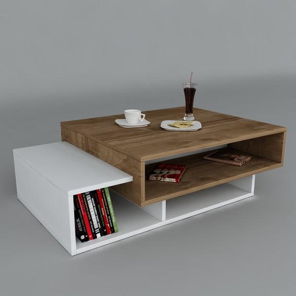 Konferenční stolek Tab White/Walnut, 60x105x32 cm