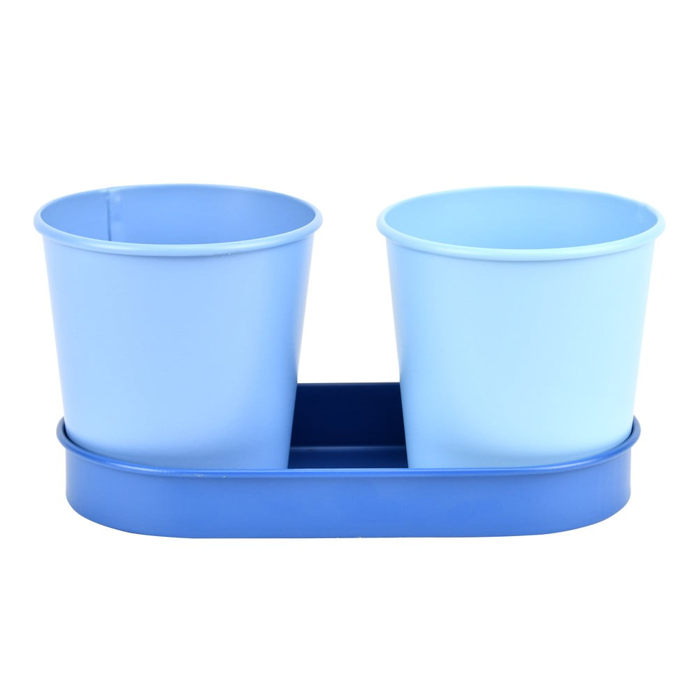 Set 2 kovových květináčů s tmavě modrým podtáckem Esschert Design Gardener