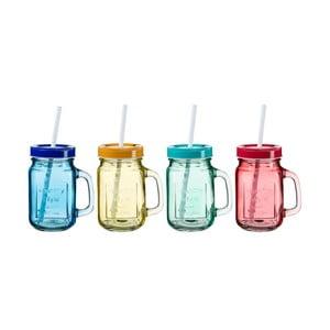 Sada 4 barevných sklenic s víčkem a brčkem SUMMER FUN II, 450ml