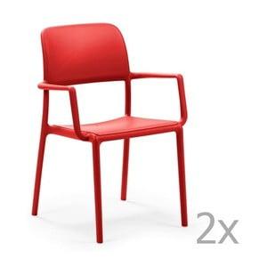 Sada 2 červených zahradních židlí Nardi Riva