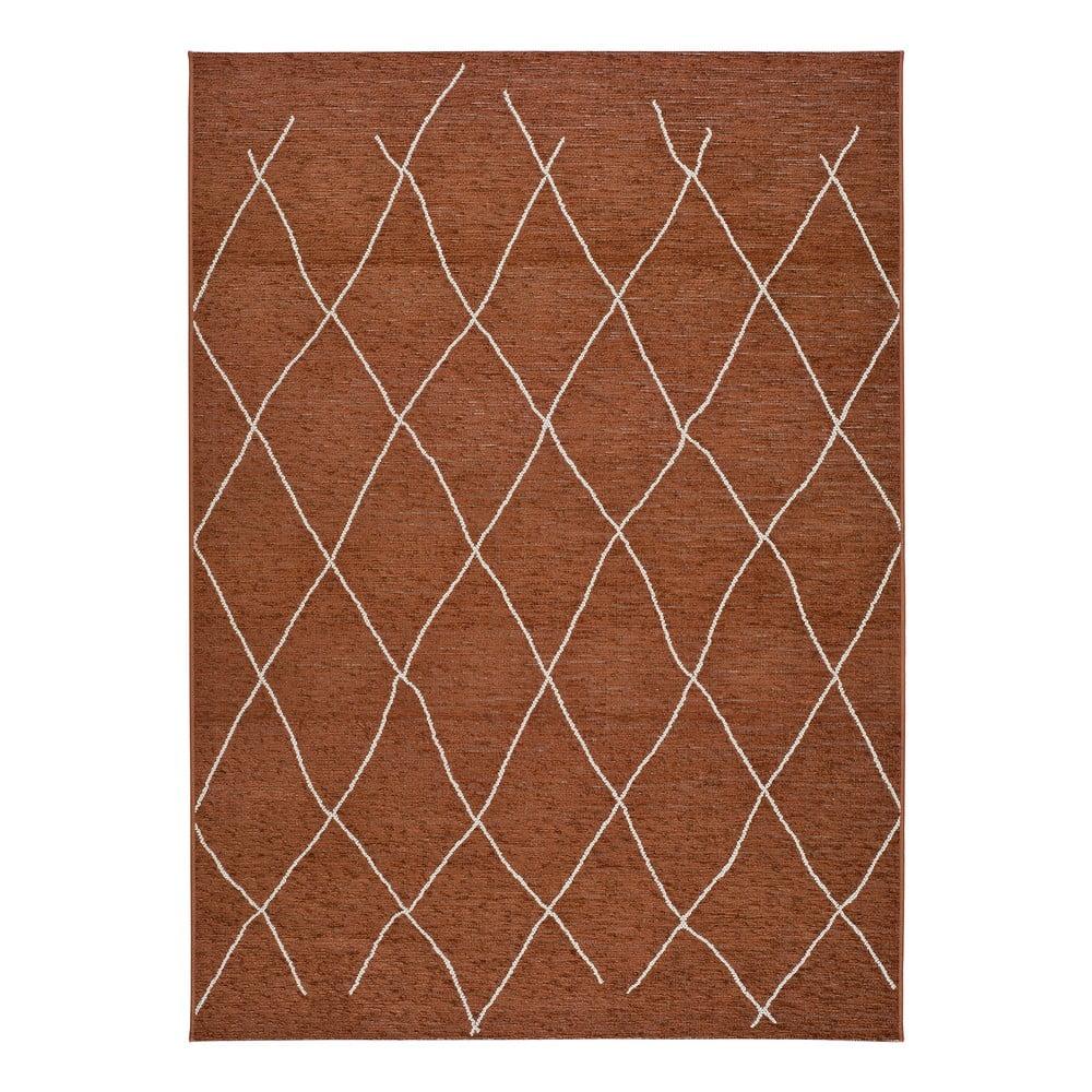Hnědo-oranžový venkovní koberec Universal Sigrid, 77 x 150 cm