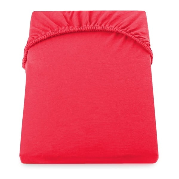 Cearșaf de pat cu elastic DecoKing Nephrite Red, 140-160 cm, roșu