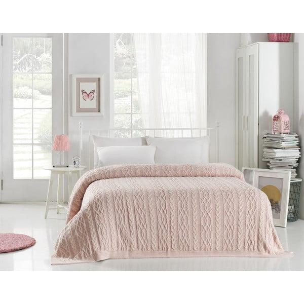 Cuvertură ușoară Knit, 220 x 240 cm, roz deschis